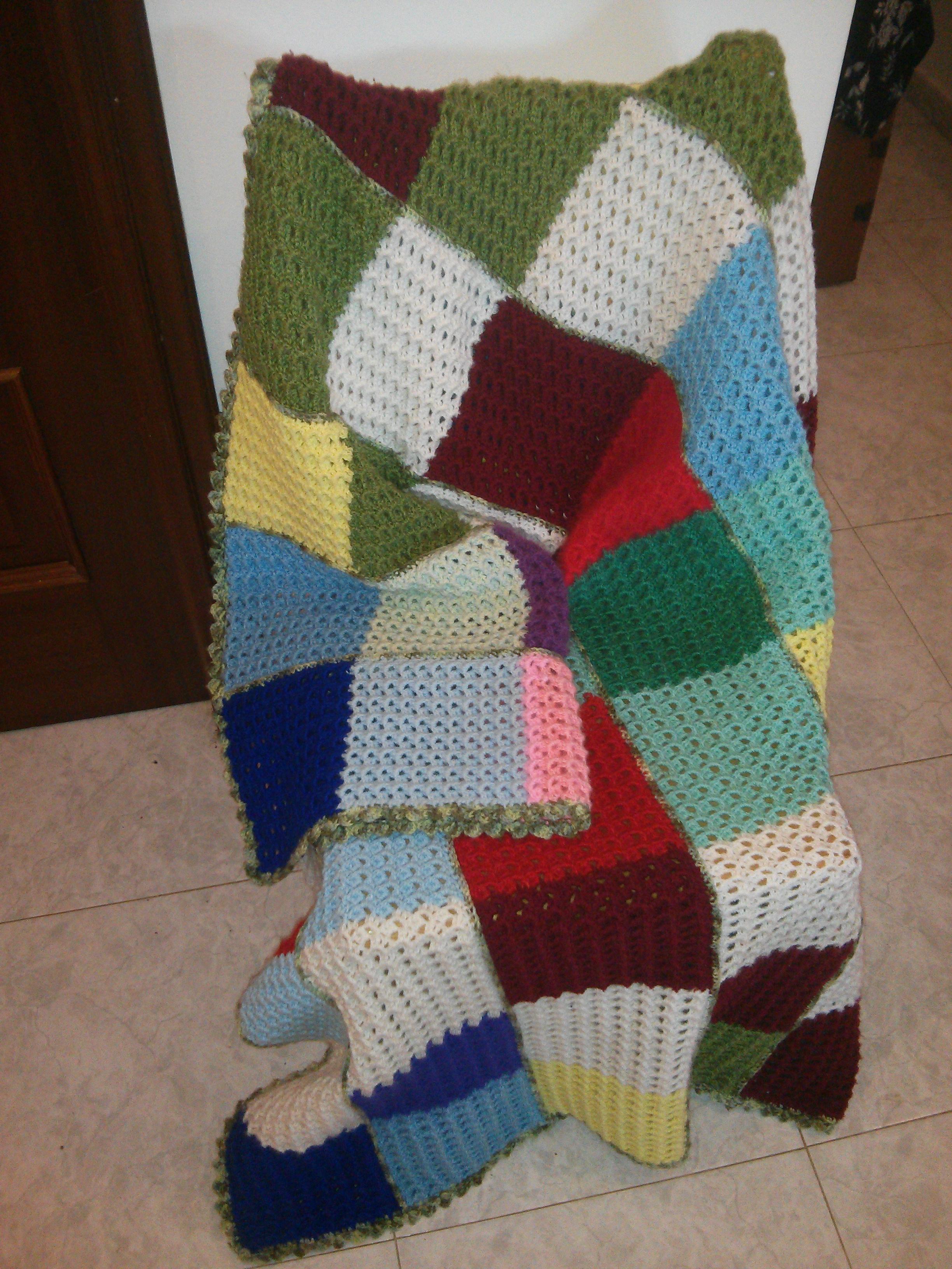 Manta ganchillo cuadros de colores mis cositas de punto - Mantas de crochet a cuadros ...